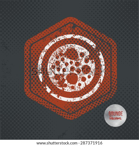Cell,stamp design on old dark background,grunge concept,vector - stock vector
