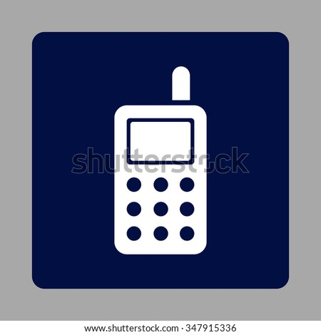 Cell Telephone vector icon. Style is flat rounded square button, white and dark blue colors, silver background.