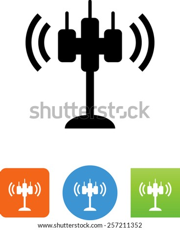 Cell tower. Vector icons for video, mobile apps, Web sites and print projects.  - stock vector