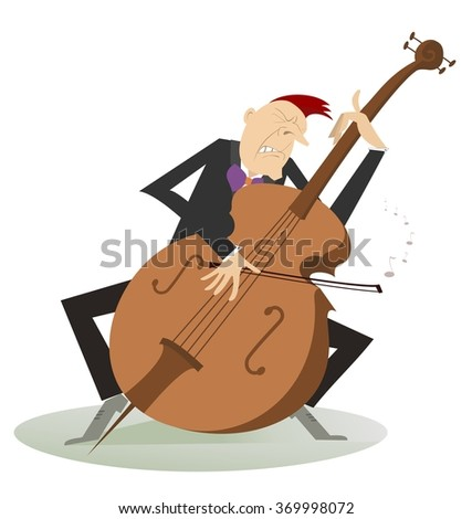 Cellist. Cellist is playing music with the great feeling  - stock vector