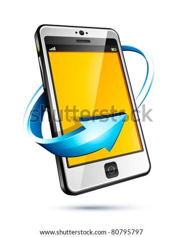 cellphone and blue arrow icon - stock vector