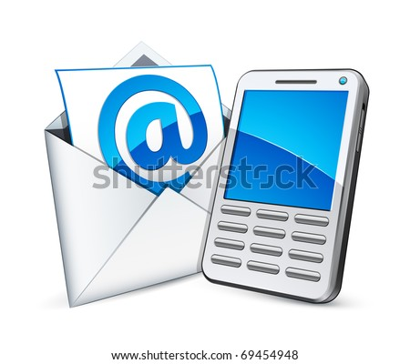 cellphone and e mail - stock vector