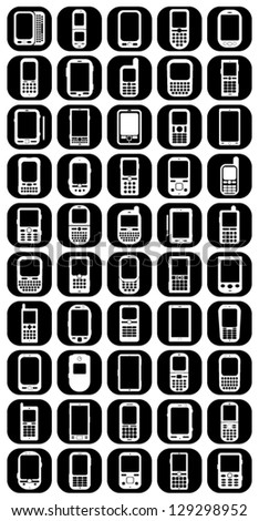 Cellphones & Smartphones Buttons Icons - stock vector