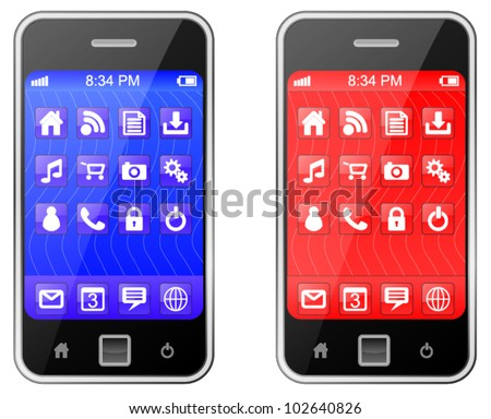 Cellular, Mobile or Smart Phone - stock vector