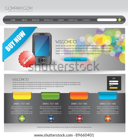 cellular network web design template - stock vector