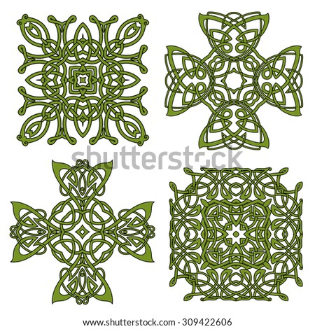 Celtic and irish knot ornamental crosses and patterns with green traditional intricate ornament. For art, tattoo or decoration design - stock vector
