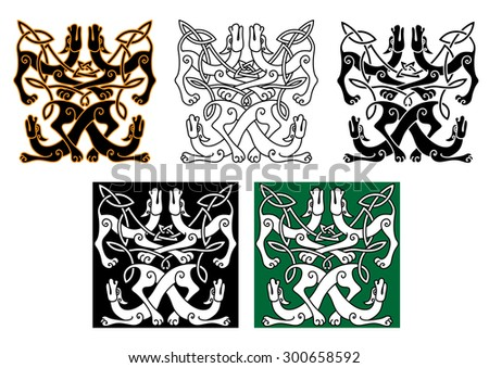 Celtic animal patterns with wild dogs, decorated by traditional knot ornaments. For art or tattoo design - stock vector