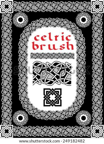 celtic brush for  frame and design vector - stock vector