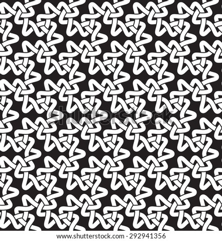 Celtic chain mail. Seamless pattern of intersecting trefoils with swatch for filling. Fashion geometric background for web or printing design. - stock vector