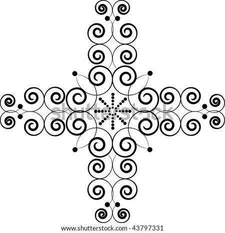 Celtic cross decoration detail - stock vector
