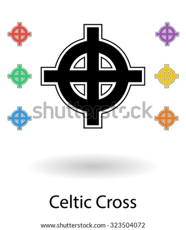 Celtic cross vector illustration, cross silhouette isolated over white background with small colored crosses - stock vector