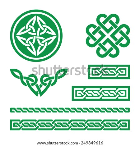 Celtic green knots, braids and patterns - vector  - stock vector