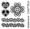 Celtic heart knot - vector symbols set - stock vector