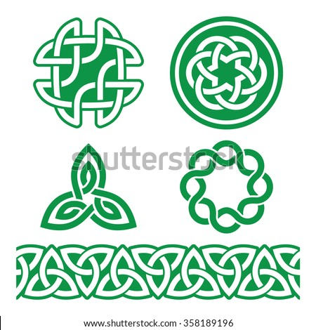 Celtic Irish green patterns and knots - vector, St Patrick's Day  - stock vector