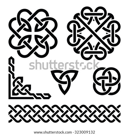 Celtic Irish knots, braids and patterns   - stock vector