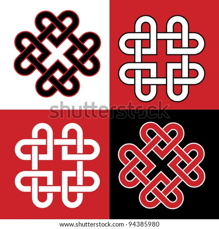 Celtic knot made of hearts. EPS10 vector format.
