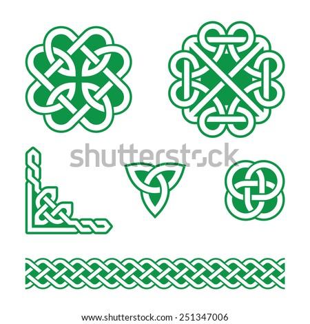 Celtic knots green patterns - vector - stock vector