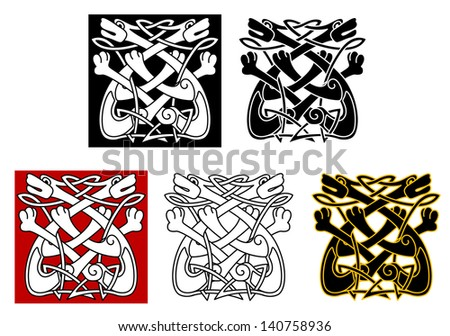 Celtic ornament with dogs and wolves for medieval design. Jpeg (bitmap) version also available in gallery - stock vector