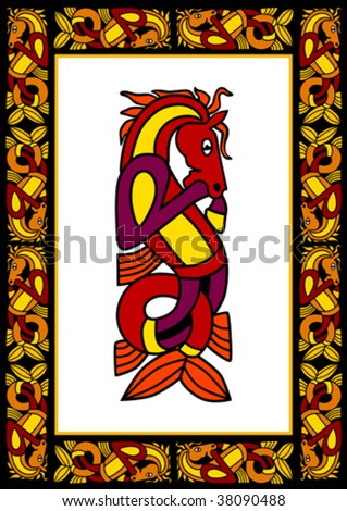 Celtic ornamental frame with horses - stock vector
