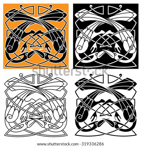 Celtic vintage ornament with playing heron birds, intertwined by crests in tribal pattern. For medieval tattoo or heraldry themes design - stock vector
