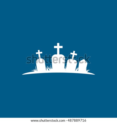 Cemetery Halloween Concept Flat Icon On Blue Background