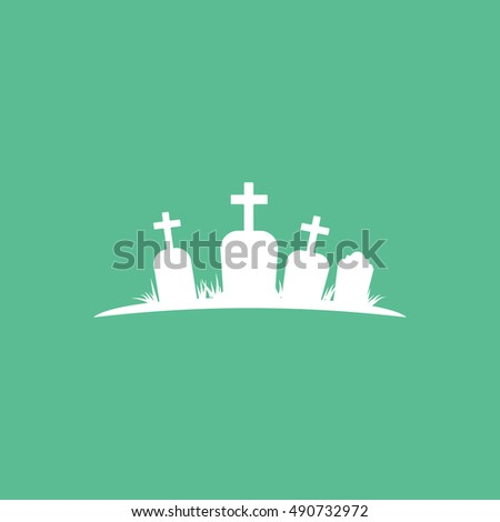 Cemetery Halloween Concept  Flat Icon On Green Background
