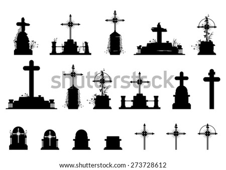 Cemetery tombstones. Objects in black on a white background .Vector without gradients. - stock vector