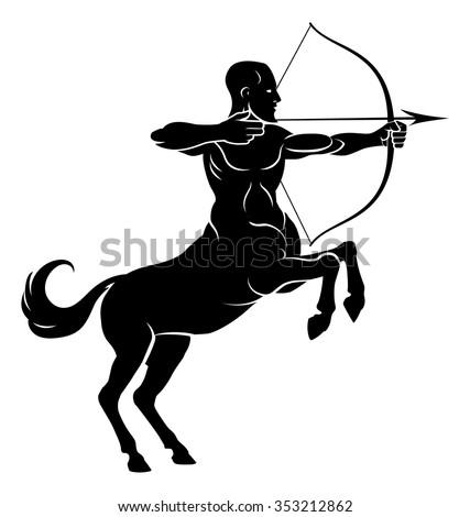 Centaur concept of mythical centaur archer half horse half man character aiming a bow and arrow - stock vector