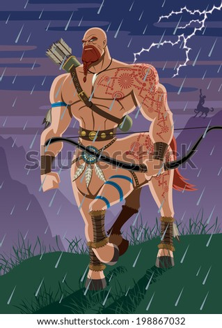 Centaur walking in the rain. No transparency used. Basic (linear) gradients. - stock vector