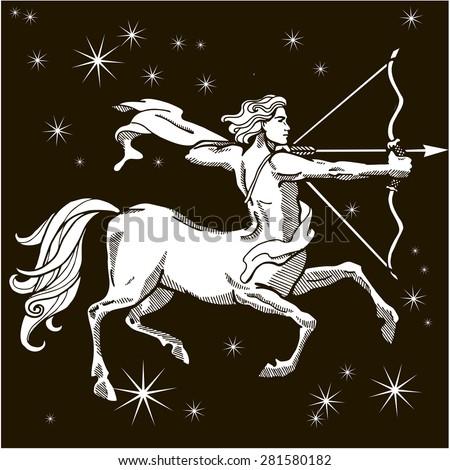 Centaur with bow and arrow. Zodiac sign - Sagittarius. Vector illustration. White silhouette. Black background - stock vector