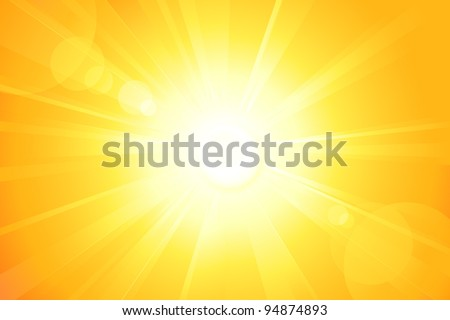 Centered yellow orange summer sun light burst. If you enjoy the hot and glittering summer sun, that is the background with space for your message. EPS10 - stock vector