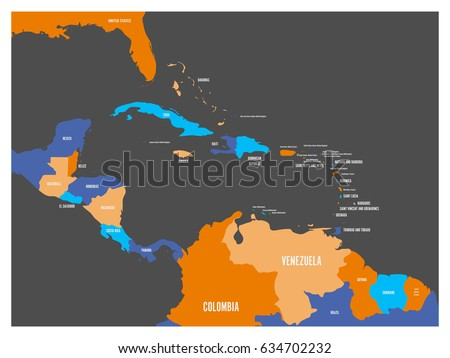 Map Central America Region Blue Highlighted Stock Vector - Large image map of us vector labels