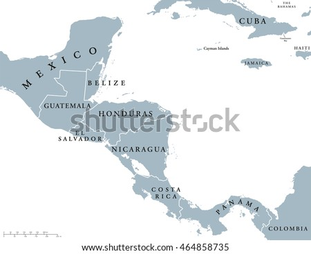 Central America Countries Political Map National Stock Vector