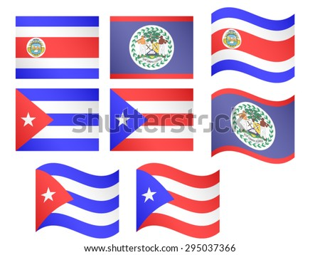 Central America Flags 2 and Caribbean Flags 1 EPS 10 - stock vector