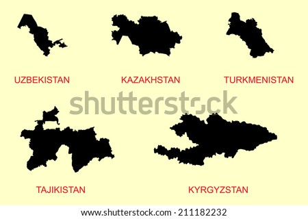 Central Asia countries, Middle Asia states illustration. - stock vector