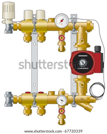 Central heating manifold, pipework and, pump and gauges vector illustration - stock vector