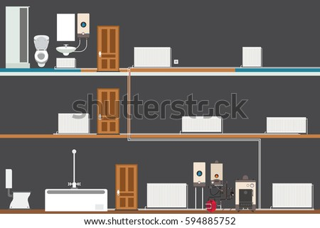 Central Heating System Black House Stock Vector 594885752 - Shutterstock