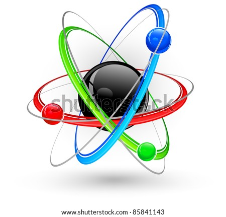 Central nucleus surrounded by color electrons on white, vector illustration - stock vector