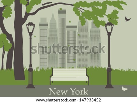 Central Park. New York. USA. Vector - stock vector
