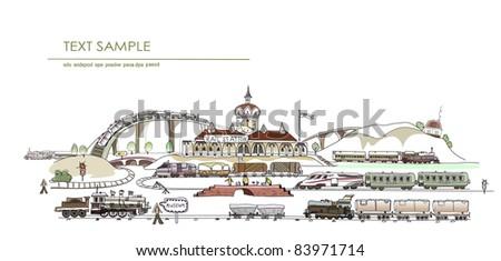 central railway station illustration - stock vector