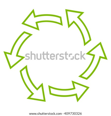 Centrifugal Arrows vector icon. Style is thin line icon symbol, eco green color, white background. - stock vector