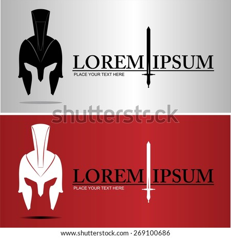 Centurion warrior helmet. An illustration of elegant head warrior character combine horizontally with text and sword icon. - stock vector