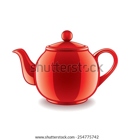 Ceramic teapot isolated on white photo-realistic vector illustration - stock vector