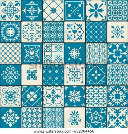 Ceramic Tile Set Vintage Oriental Moroccan Stock Vector (2018 ...