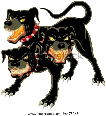Cerberus on White: The three headed dog - Cerberus.  No transparency and gradients used. - stock vector