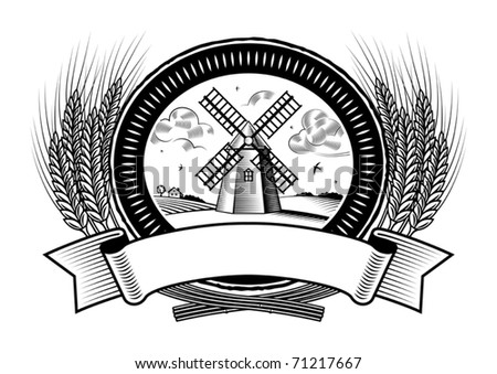 Cereal harvest label black and white. Vector - stock vector
