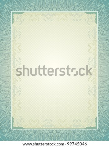 certificate background with calligraphic lines, vector illustration - stock vector