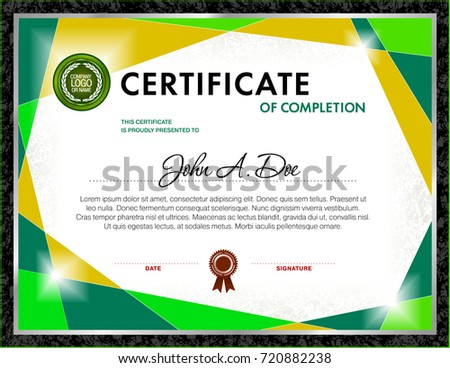 Certificate Blank Template Designed Green Color Stock ...