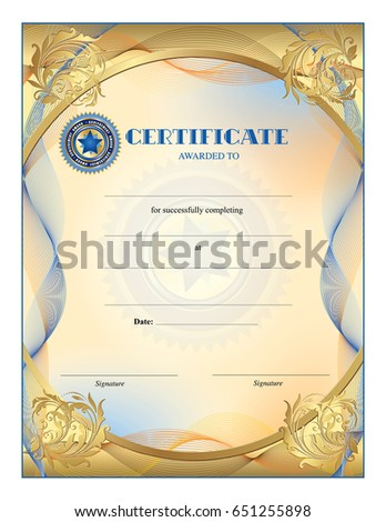 Certificate blank template completion award achievement stock vector certificate blank template for completion award achievement graduation wavy lines border yelopaper Images