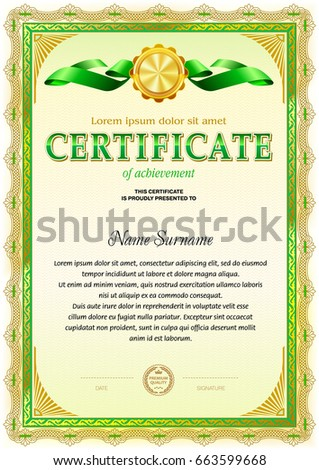 Certificate blank template light vintage frame stock vector certificate blank template light vintage frame border green color gamma yadclub Image collections